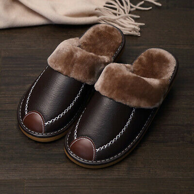Men's Home Slippers Winter Warm Leather Indoor Flats Comfy Close Toe House  5
