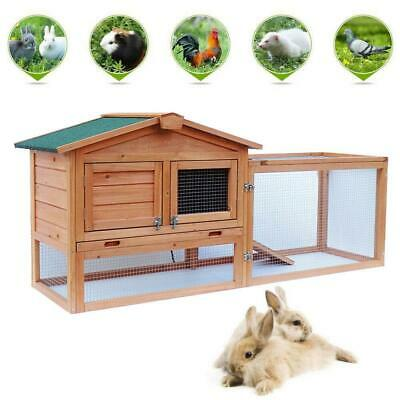 "61"" Wooden Rabbit Hutch Chicken Coop House Bunny Hen Pet Backyard Run Cages"