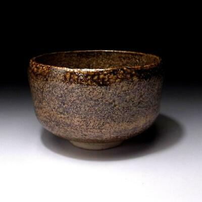 ER13 Vintage Japanese Pottery Tea Bowl, Raku ware, Brown glaze, WABI SABI
