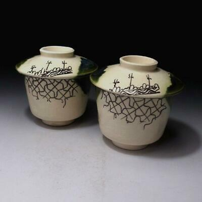 RE5: Vintage Japanese Pottery Covered Bowls of Oribe ware