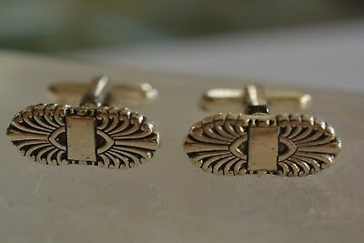 Vintage Hickok Cufflinks Sterling Silver 925 Ornate Made in U.S.A