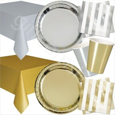 33pc Gold & Silver Disposable Party Tableware Set Bundle Party Catering Supplies