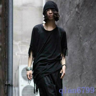 Mens Korean Fashion Loose Slim Fit  Tassel Short batwing-sleeved Casual T-shirts