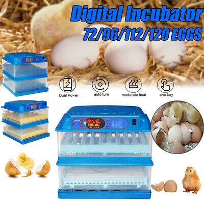 72/96/112/120 Electric Egg Incubator Automatic Digital For Chicken Quail Poultry