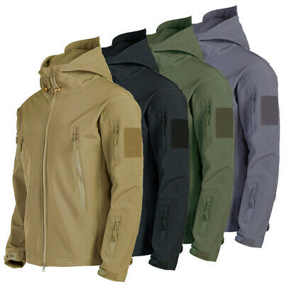 Mens Outdoor Jacket Waterproof Tactical Winter Coat Soft Shell Military Jackets