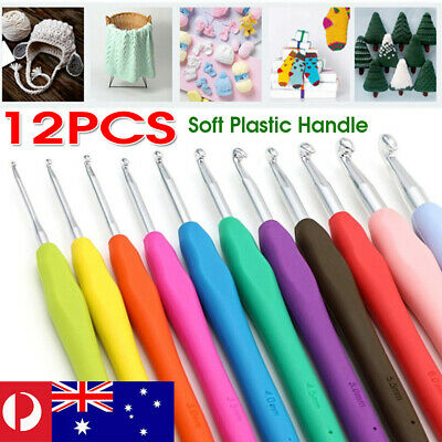 Crochet Hook Set With Colorful Soft Rubber Grip Handles Knitting Sewing Tools
