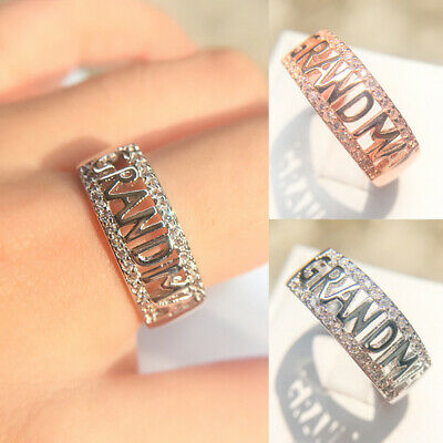 Womens Silver/Rose Gold Crystal Engagement Wedding Jewelry Ring Grandma Gift UK