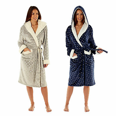 MASQ Womens Navy Or Grey Foil Print Hooded Robe Ladies Sherpa Trim Dressing Gown