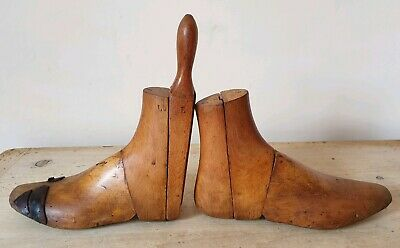 "Antique Wooden Boot Lasts Shoe Trees Treen Cobbler Display Men's Size 8"" c.1890s"