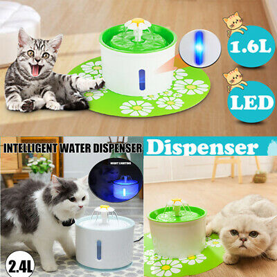 LED Automatic Electric Pet Water Fountain Cat/Dog Drinking Dispenser 1.6L