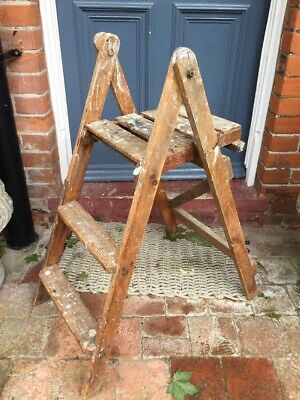 Gorgeous Small Vintage Wooden Step Ladder / Stool Shop Display