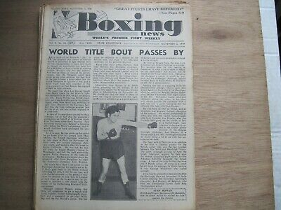 Boxing News Magazine - November 2, 1949. Vintage Issue.