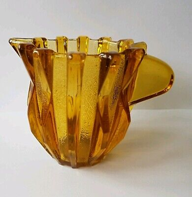 art deco Amber glass small  jug cream jug