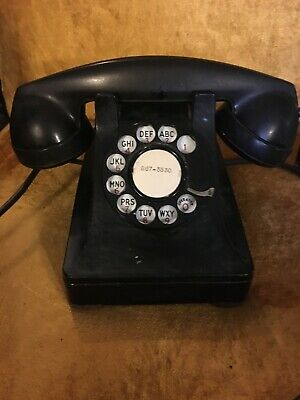 Vintage Bell System Bakelite Deco Rotary Desk Telephone Western Electric