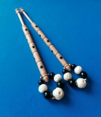 Pair Light Wood Lace Bobbins. Painted with Black Dots. Spangles.