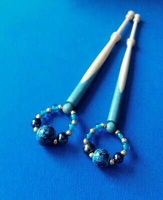 Pair Wood Spliced Lace Bobbins. Turquoise Blue & Cream. Spangles.