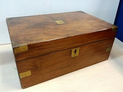 Antique Wooden Folding Portable Captains Writing Box Slope Bureau @33A