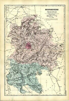 1891 Antique Map BEDFORDSHIRE County HOUSES Farms RAILWAYS Stations GREAT DETAIL