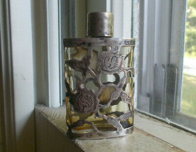 Vintage Sterling Silver Overlay Over Glass Perfume Bottle Made In Mexico