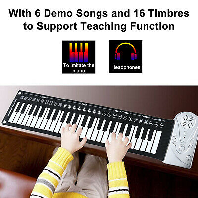 49 Key Electronic Roll Up Piano Keyboard w/ Silicone Built-in Speaker for Kids