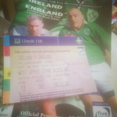 IRELAND v ENGLAND ~ 1999 FIVE NATIONS RUGBY PROGRAMME ~ LANSDOWNE ROAD plus tick