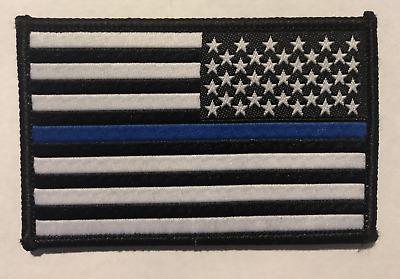 BuckUp Tactical Morale Patch USA US Flag THIN BLUE LINE Reversed 3x2""