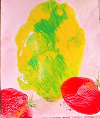 Mixed Media Abstract Monoprint'Lettuce & Tomatoes'unframed,signed,new,quirky