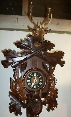 Breathtaking Large German Black Forest Deep Carved Hunter Deer Head Cuckoo Clock