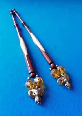 Pair Wood Spliced Lace Bobbins. Spangles with Brass Elephant's Head.