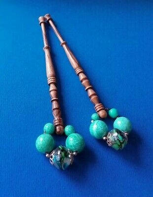 Pair Varigated Turned Wood Lace Bobbins. Turquoise Spangles.