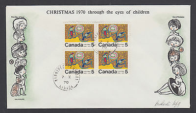 Canada Uni 522i FDC. 1970 Christmas, scarce center block of 4, Bileski cachet