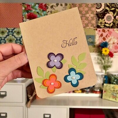Stampin' UP! Handmade HELLO Card Stamped Flower Greeting + Envelope