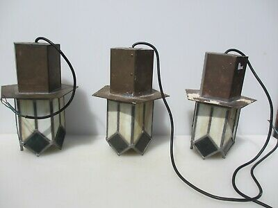 Vintage Brass & Stained Glass Ceiling Light Lights x3 Tiffany Style