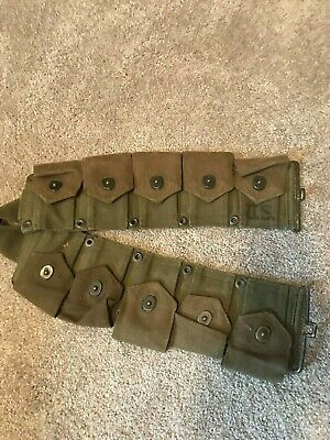 US WWII M1 Garand Ammo Belt 10 Cartridge Pouches WW2