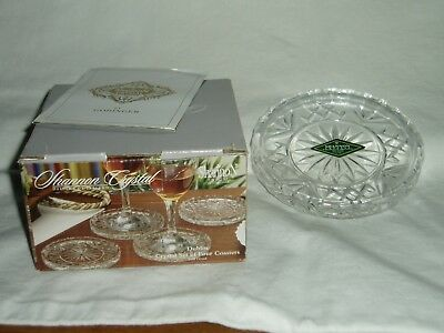 NIB SHANNON LEAD CRYSTAL by GODINGER   Set of 4 Matched COASTERS