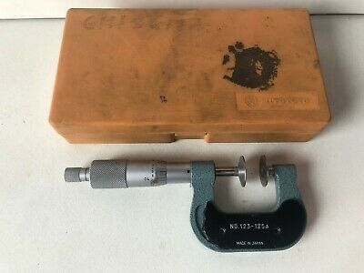 "Mitutoyo 123-125 Disk Flange Micrometer 0 to 1"", 0.001"", w Case and Ratchet"