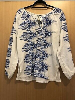 True Vintage 1970s Blue Floral Embroidered Peasant Top Size Medium To Large