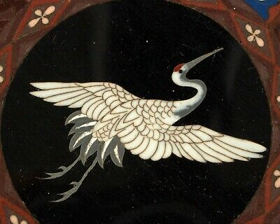 Antique 19th century Chinese / Japanese crane cloisonne dish.