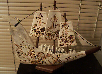 Scrimshaw Pirate Ship, Amazing Detail, 16 x 11.5 inch, Ultra Rare One of a Kind