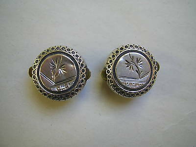Pair Of Antique Victorian Aesthetic Silver Fronted Bachelor Button Cufflinks