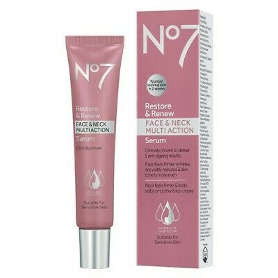 No7 Restore and Renew Face and Neck Multi Action Serum - 30, 50, 75ml - New