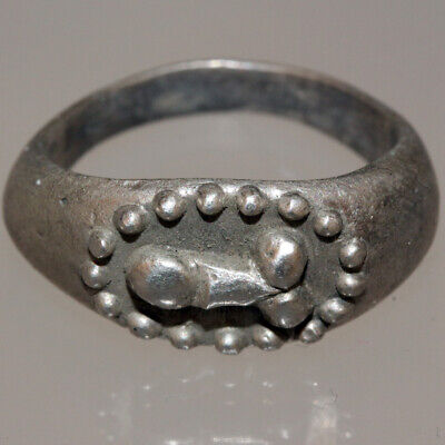 Museum Quality Roman Silver Ring Decorated With Phallus Ca 100-300 Ad