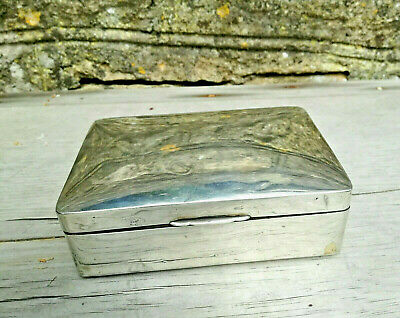 Vintage Antique Solid Sterling Silver Mahogany Wood Card Box 1917 Charles Green