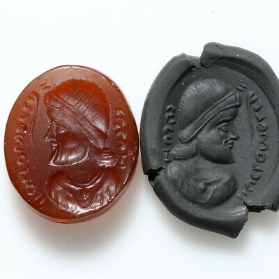 Very Rare Indo Greek Emperor Bust Bead Seal-Carnelian Stone Ca 100 Bc
