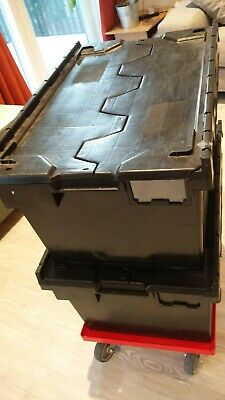02 x BLACK RECYCLED PLASTIC HINGED LID DISTRIBUTION CRATE CONTAINER with wheels