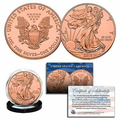 2019 Genuine 1 oz .999 Fine Silver American Eagle 24KT ROSE GOLD Clad U.S. Coin