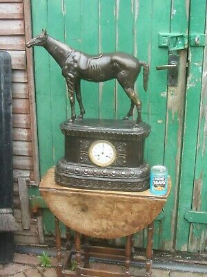 Victorian Bronze Mantle Clock Featuring A Horse