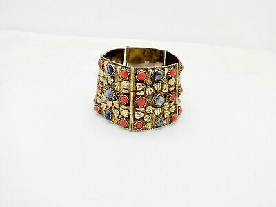 Vintage Chinese Asian Wide Gilt Sterling Silver Coral & Sodalite Bracelet Cuff