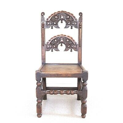 Antique 19th Century Carved Oak Jacobean Style Hall Chair Seat