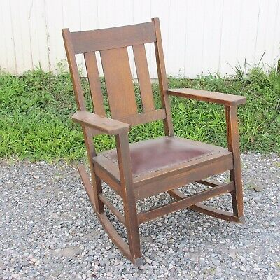 Arts & Crafts Rocking Chair, Oak with Leather Seat, Vintage